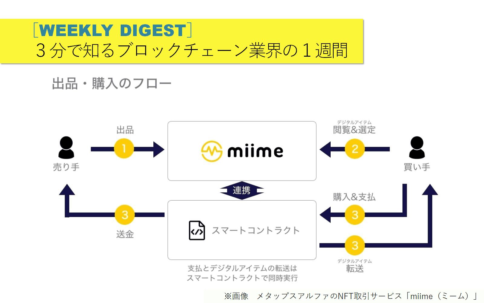 3分で知るブロックチェーン業界の1週間[9/2-9/8]LINE取引所へ前進/NFT取引所「miime」/博報堂DYがDApps市場拡大へ/ほか
